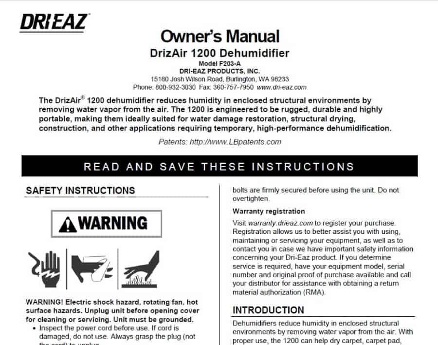 Dri-Eaz 1200 Dehumidifier Manual